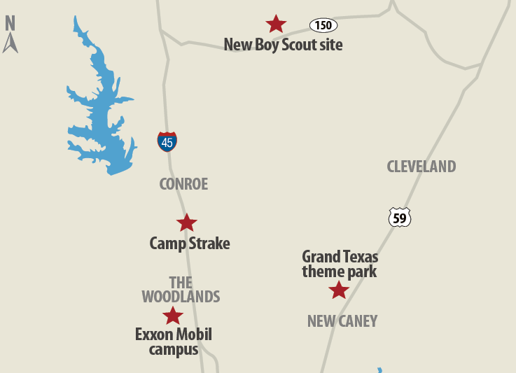 Camp Strake is about 10 miles north of Exxon Mobil's new corporate campus, which is currently under construction on 385 acres and will house 10,000 employees. While Johnson Development might have another master-planned community planned for the acreage, some other insiders have said a Triple A baseball stadium might also be in the mix.