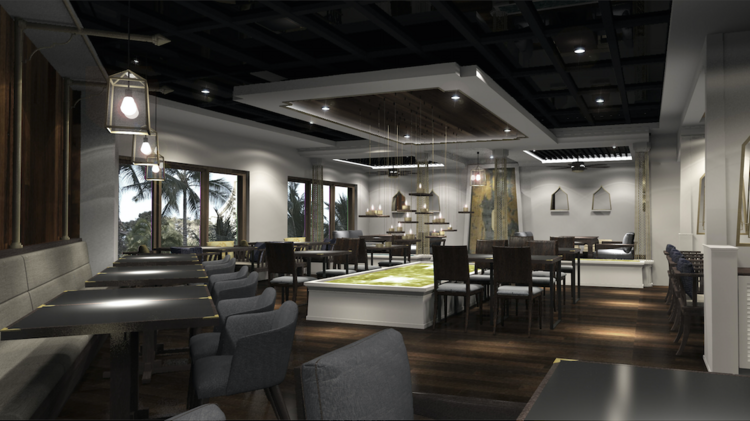 an artists rendering shows how the interior of noi thai cuisine in waikikis royal hawaiian center