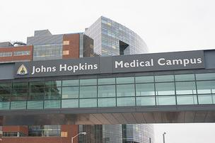 A pedestrian bridge on the campus of Johns Hopkins Hospital in East Baltimore.