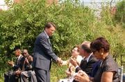 Gov. Pat McCrory shakes hands with those in attendance at the Blue Line extension groundbreaking.