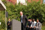 UNC Charlotte Chancellor Phil Dubois gives remarks at the ceremony.
