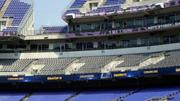 One of the improvements complete at M&T Bank Stadium are new ribbon boards, placed just below the club level. The new boards now flow continuously around the bowl, replacing the panels that were there before.