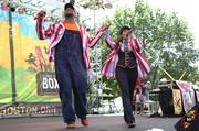 "Children's artist Choo Choo Soul ""With Genevieve"" singing audience favorites at the Park Street Stage at Outside the Box."