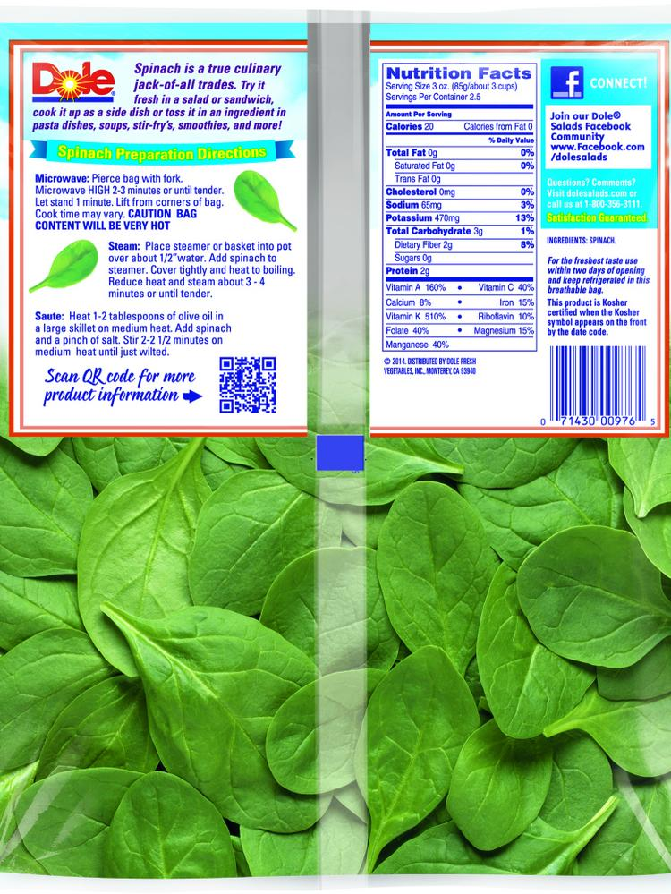 Dole Recalled Its Bagged Spinach Salad Over Salmonella Concerns