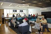 Travelers enjoy being some of the first guests at Terminal 5's Airspace Lounge at JFK.