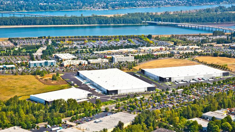 Phase II of PDX Logistics Center (the building on the right in this rendering) will offer more than 355,000 square feet of industrial space near the Portland International Airport. The first phase of the project, the two buildings on the left, are 100 percent leased.