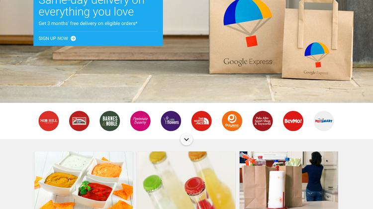 This image is from the Google Express website for the San Francisco market. The service launched in Kansas City and several other Midwestern cities on Sept. 13.