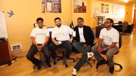 The CoinFling team has been working on the beta version of its mobile wallet and money transfer app for several years. Left to right, it's Ahmed Rodol, marketing manager; Mohammed Sarhan, co-founder and chief architect; Musse Roble, co-founder and CEO; and Abdi Fayoke, co-founder and finance director.