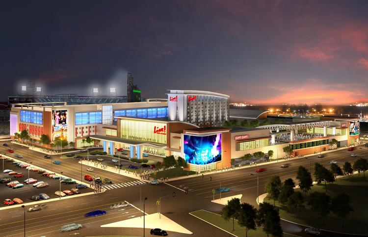 A rendering of Cordish's planned casino and hotel complex in South Philadelphia.