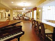 A piano lounge is located on the ground floor of the Silvercrest senior community in New Albany.