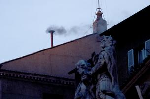 Black smoke rose from the chimney of the Sistine Chapel in Vatican City, Wednesday morning — indicating the cardinals have not picked a new pope.