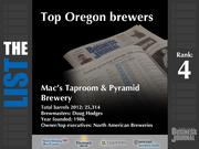 4: Mac's Taproom & Pyramid Brewery  The full list of the top Oregon brewers - including contact information - is available to PBJ subscribers.  Not a subscriber? Sign up for a free 4-week trial subscription to view this list and more today