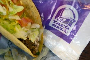 A crispy beef taco from Taco Bell Corp. is arranged for a photograph in San Francisco, California, U.S., on Wednesday, March 13, 2013.