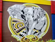 Spear's elephant on the current Sam Flax location is part of a wall featuring designs by local artists.