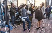 """""""Silicon Valley"""" director Mike Judge looks on while actresses prepare to shoot a scene."""