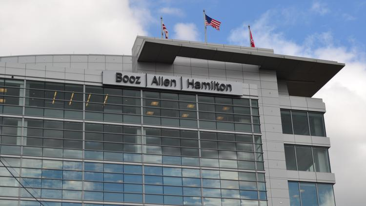 Booz Allen Hamilton headquarters...a little less busy now that federal government spending is on the decline.