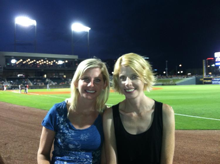 BBJ Editor Cindy Crawford, right, with her identical twin, Joni Grindstaff at Regions Field July 22.