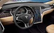 The Tesla interior has a 17-inch touchscreen with seating for up to seven people.