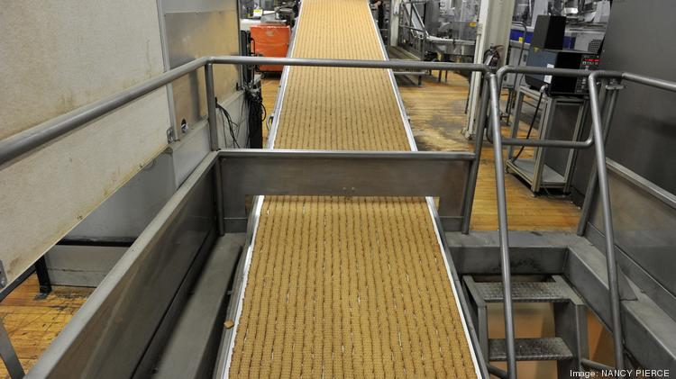 Crackers emerge from the oven at Snyder's-Lance Inc.'s bakery in Charlotte.