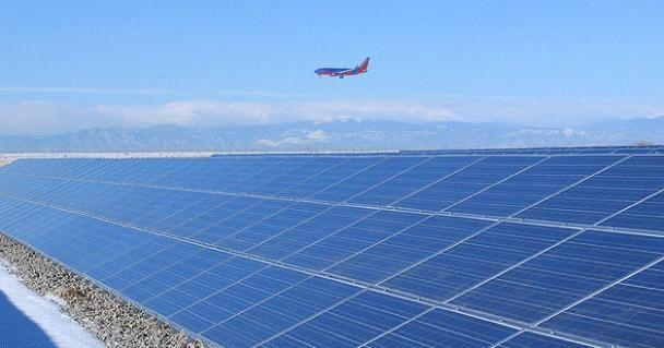 An existing solar power facility at Denver International Airport.