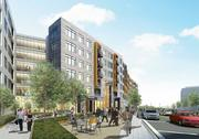 Rendering of the entry to the JBG Cos. mid-rise residential building at Tysons West.