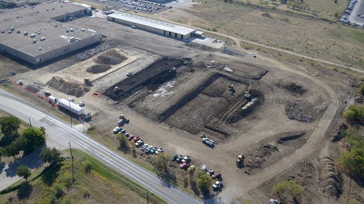 An aerial of the site in Denton, where Mohr Capital is adding a second building to the small industrial park.