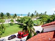 The view from the roof of the former Versace mansion in South Beach, looking over Ocean Drive to the Atlantic.