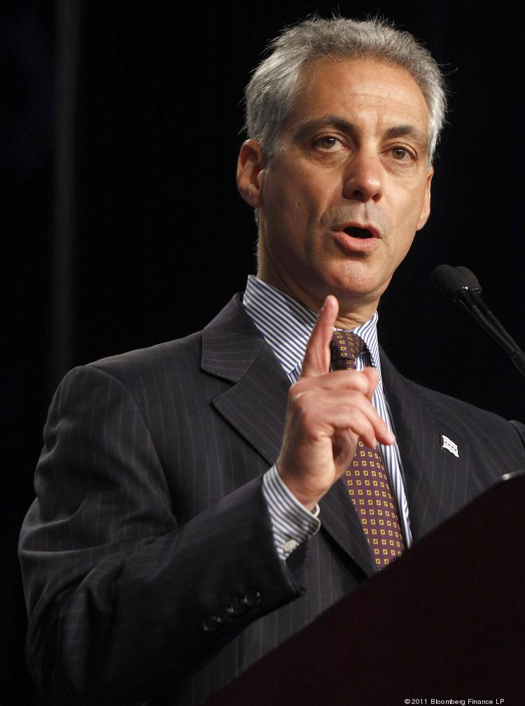 Rahm Emanuel, mayor of Chicago, speaks during the Clinton Global Initiative conference in Chicago, Illinois, U.S., on Wednesday, June 29, 2011. Former U.S. President Bill Clinton opened a two-day conference focused on job creation by urging greater lending to help the U.S. economy recover from the worst recession since the Great Depression. Photographer: Frank Polich/Bloomberg *** Local Caption *** Rahm Emanuel