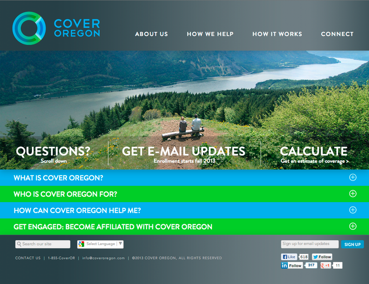 Cover Oregon homepage