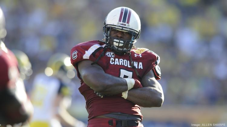Jadeveon Clowney poses after a turnover caused by his tackle on Vincent Smith during the Outback Bowl in Tampa, Fla.