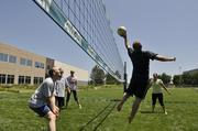 Amgen employees have a volleyball league on campus. The company was the No. 5 Healthiest Employer for 2013 in the large business category.