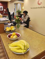 There is always fruit at the front desk with receptionist BJ Brockman at Colorado Health. The company was the No. 3 Healthiest Employer for 2013 in the medium-sized business category.