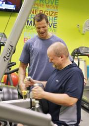 A personal trainer on site, Jonathan Van Arsdale of Millennium Fitness Solutions works with Pinnacol Assurance's Rian Hall, software engineer. The company was the No. 2 Healthiest Employer for 2013 in the large business category.