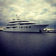 The 215-foot super yacht Invictus is moored in July 2013 in Puget Sound waters at Seattle.