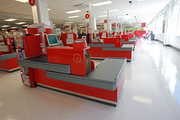 A bank of checkout stands waits for the first shoppers to arrive at Portland's new CityTarget.