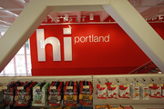 The welcome sign at Portland's new CityTarget is framed by seismic beams installed at the Galleria as part of a $20 million project to redevelop the building for its new two-floor tenant. The store opens today.