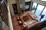 A balcony view into the living room of the American Dream by Westlake Development. The Street of Dreams house features 97 percent made-in-America materials.