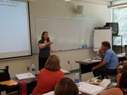 Susie Calkins talks about applied critical thinking during training for instructors and high school teachers at a session at Sierra College.