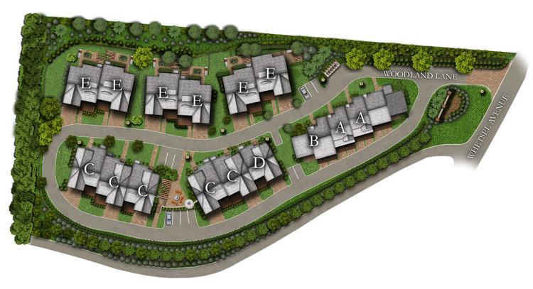 """The new site plan for Woodland Vistas. The existing building is marked as """"B A A."""""""