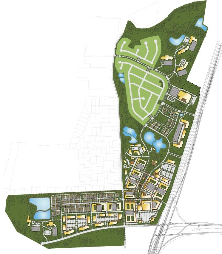 The site plan for Estancia Hill Country includes single-family homes by Lennar Corp. on the northwest portion of the L-shaped site with mostly commercial lining I-35.