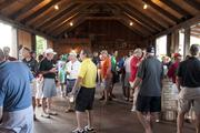 Golfers network after the golfing is completed.