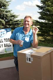 Jim Lindenberg, owner of Legends of the Field, was the winner of the ball toss competition.