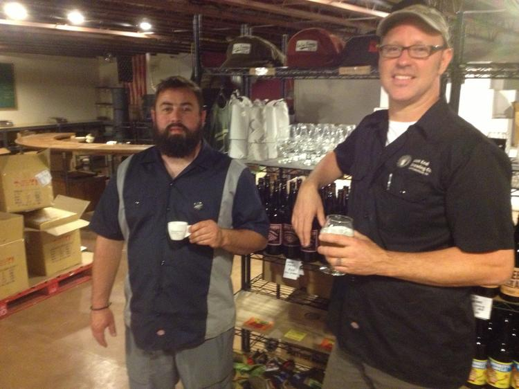 T.J. Fairchild, owner of Commonplace Coffee Co., and Scott Smith, owner of East End Brewing Co. Both businesses share space in a small warehouse in Larimer.