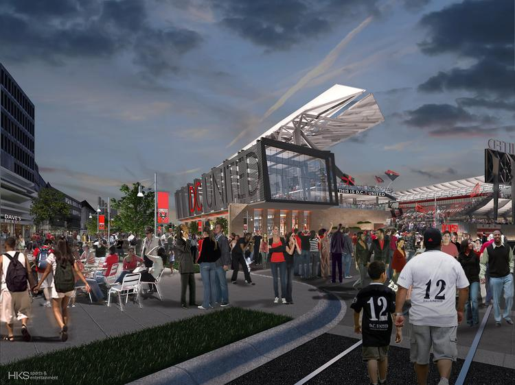A night view of the proposed D.C. United stadium at Buzzard Point.