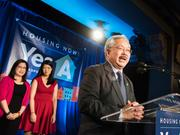 Mayor Ed Lee delivers his victory speech on stage with his wife Anita and daughter Brianna.