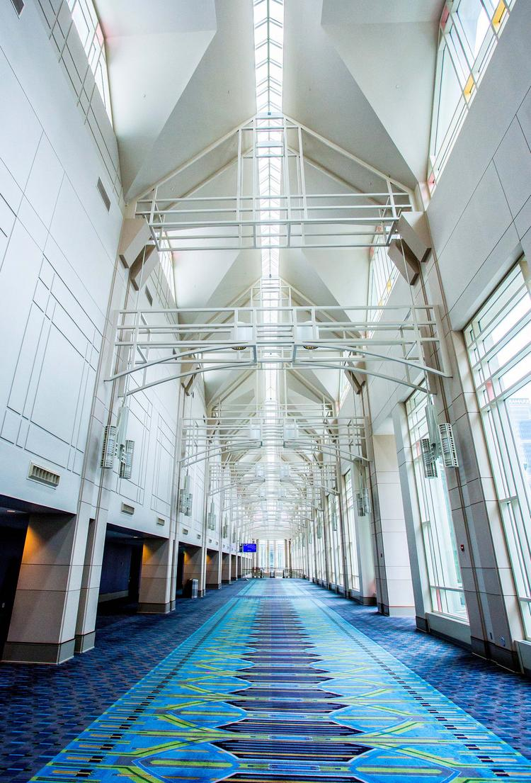 A long hallway in the Pennsylvania Convention Center.