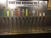 Taps at East End Brewing, offering 10 different beers and two sodas all made within the building.