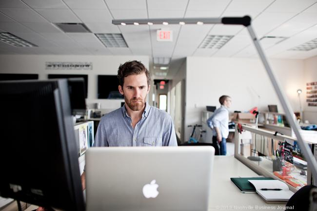 Producer Ryan Parrish works on a project at StudioNow's Hillsboro Pike offices.