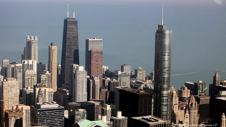 The Trump Tower is on the right in this photo taken from the Willis Tower in Chicago.