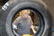 In senior staff writer Ken Elkins' coverage this week: DLS Retreading Inc. has opened a facility in Indian Land and expects to grow to 53 employees. Here, DLS employee Donna Watkins inspects a truck tire for defects before it's sent down the production line.